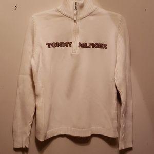 Cream Tommy Hilfiger zip up neck sweater